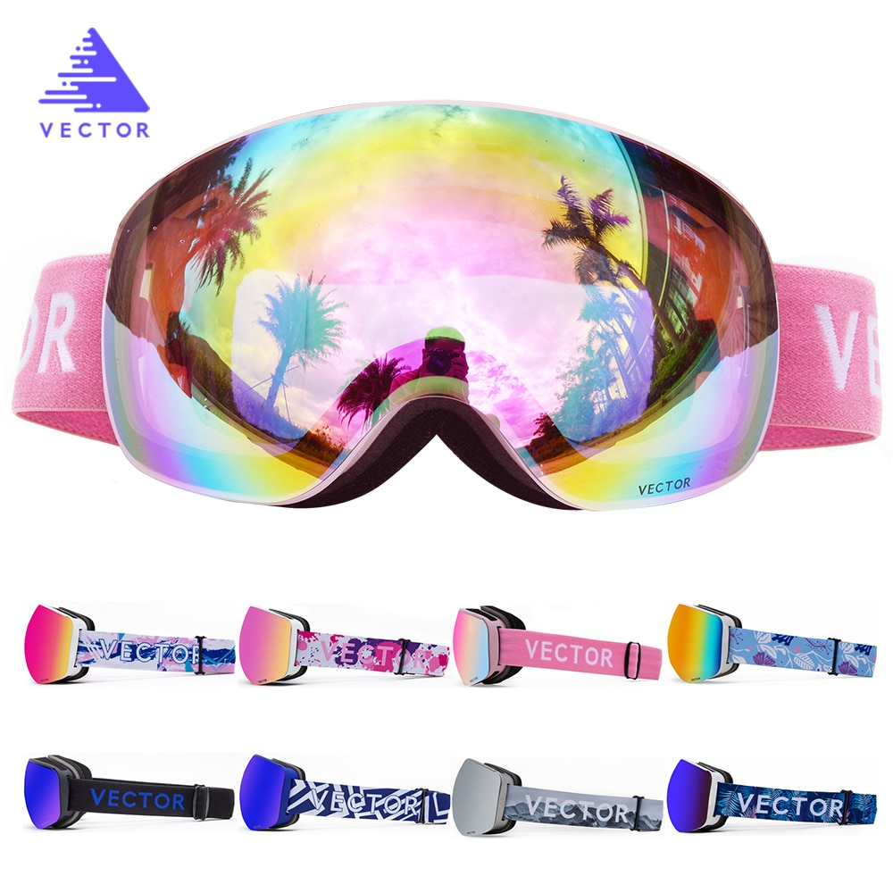 OTG Ski Snowboard Goggles Women Men Skiing Eyewear Mask UV 400 Snow Protection Glasses Adult Double Spherical Mirrored Magnetic