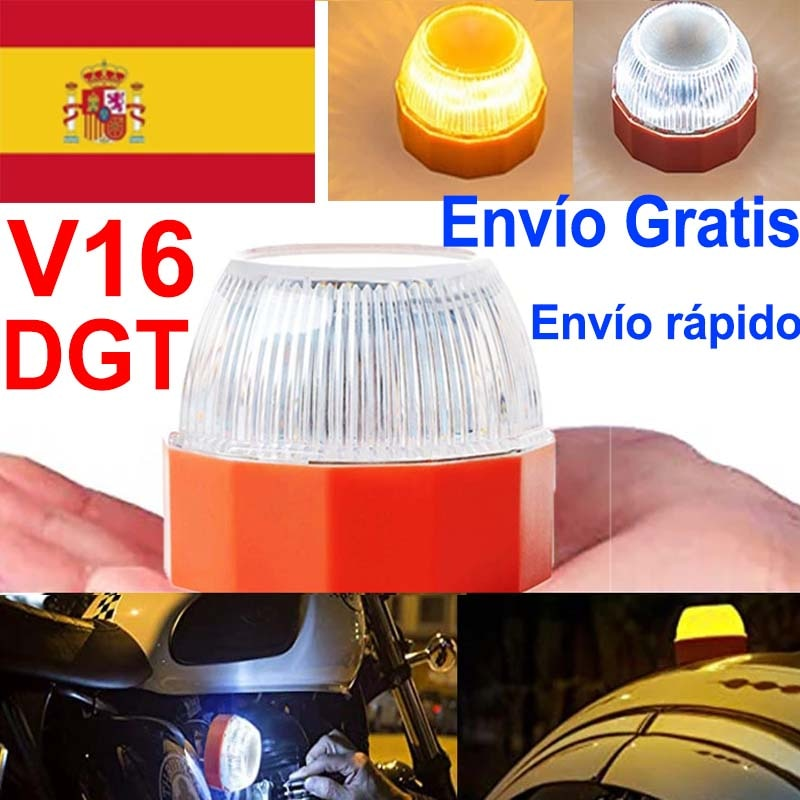 v16 led Dgt Emergency light  Autonomous Signalling DGT Approved Flash safety lamp warning Amber white strobe Road Accident light