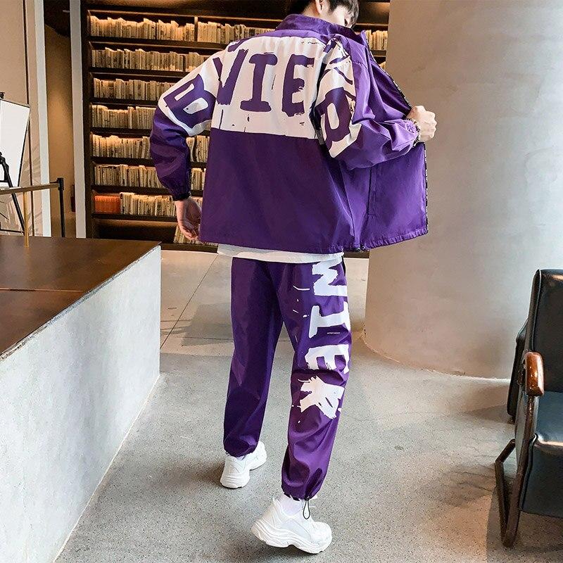 Trajes deportivos para hombre, chaqueta informal holgada con estampado + Pantalones deportivos 2 uds, traje de otoño con cremallera, moda negra, traje para correr 5XL