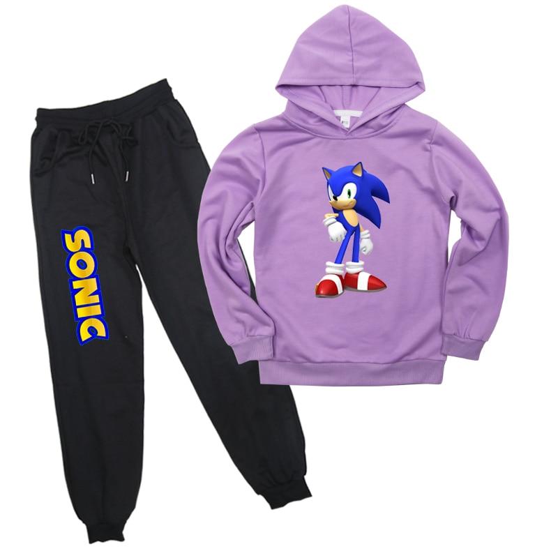 Sudaderas Sonic The Hedgehog niños ropa deportiva Tops traje sudadera pantalones de manga larga para niños regalo sorpresa para niños niñas