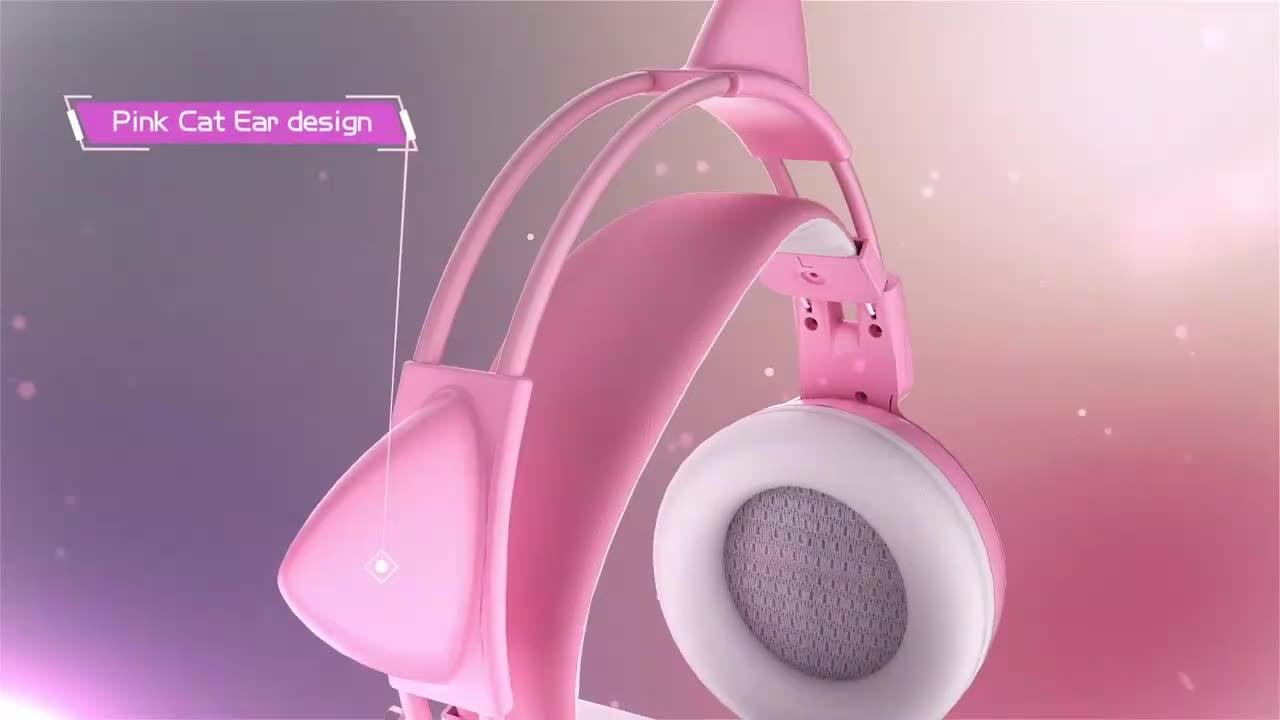SOMIC G951 الوردي القط سماعات الظاهري 7.1 سماعات للعب الاهتزاز LED USB سماعة الاطفال فتاة عقال سماعة رأس مزودة بميكروفون للكمبيوتر