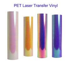 Free Ship 1 sheet 25cmx100cm metallic Heat Transfer Vinyl Silver Rainbow Camouflage Hologram Iron on Film HTV T-shi