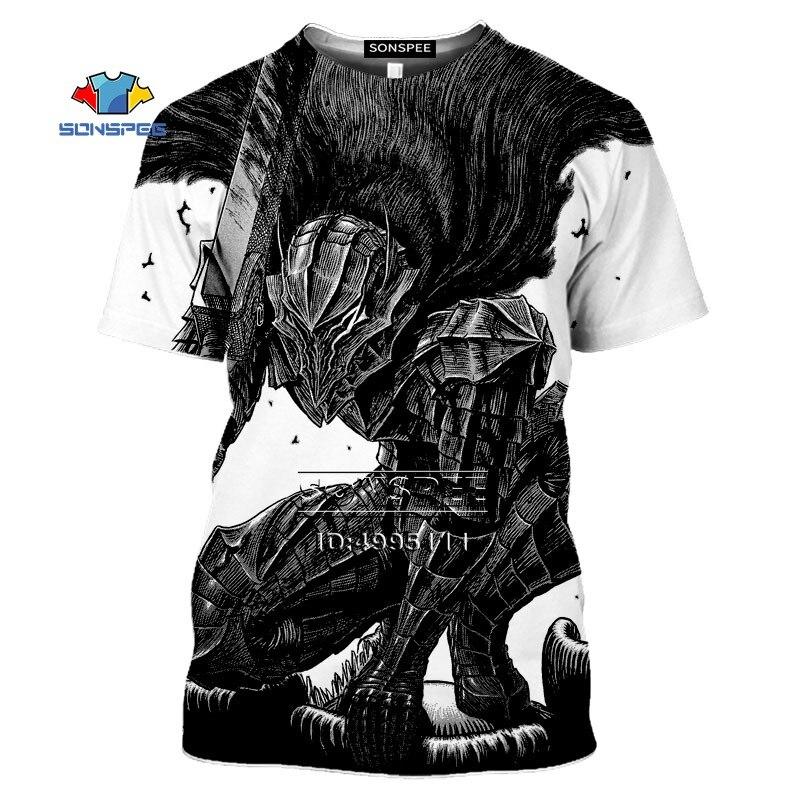 SONSPEE Comics Berserker Guts Griffith T shirt hombres 3D estampado Camisetas Mujer verano camiseta Harajuku Casual Camisetas manga corta
