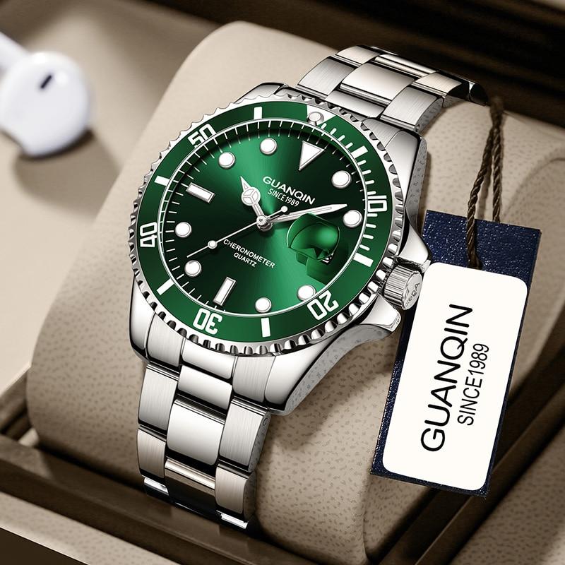GUANQI-ساعة غوص أوتوماتيكية فاخرة للرجال ، ساعة ميكانيكية من الياقوت ، مع تقويم ، مضيئة ، ماء شبح ، أخضر ، مجموعة جديدة 2020