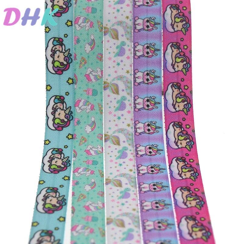 DHK 5/8 5yards horse fish printed Fold Elastic FOE stretch ribbon hairbow headwear headband DIY OEM E1726