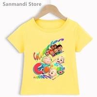 yellow kids clothes rainbow cocomelon cartoon print tshirt girlsboys summer fashion t shirt harajuku shirt children clothing