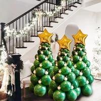 christmas party balloons tree latex green balloon garland pillar christmas decoration for home xmas navidad new year 2022 decor