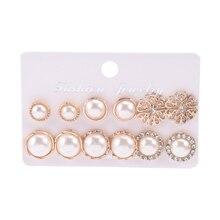 6 Paare/satz Kristall Blume 10-15mm Perle Stud Ohrringe Für Frauen Mode Schmuck 2021