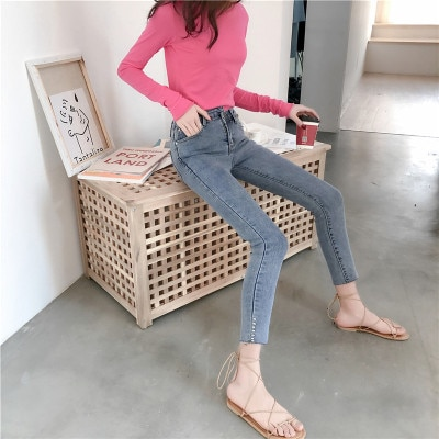 2019 Spring Summer skinny jeans Denim Pencil Pants Top Stretch Women High Waist