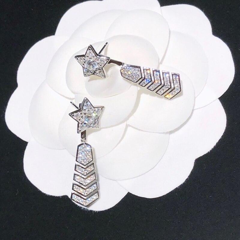 2020Hot Marke Reine S925 Sterling Silber Schmuck Top Qualität Beliebte marke Pin Zirkon Ohrringe meteor Sommer geschmack stud Ohrringe Ohrstecker    -