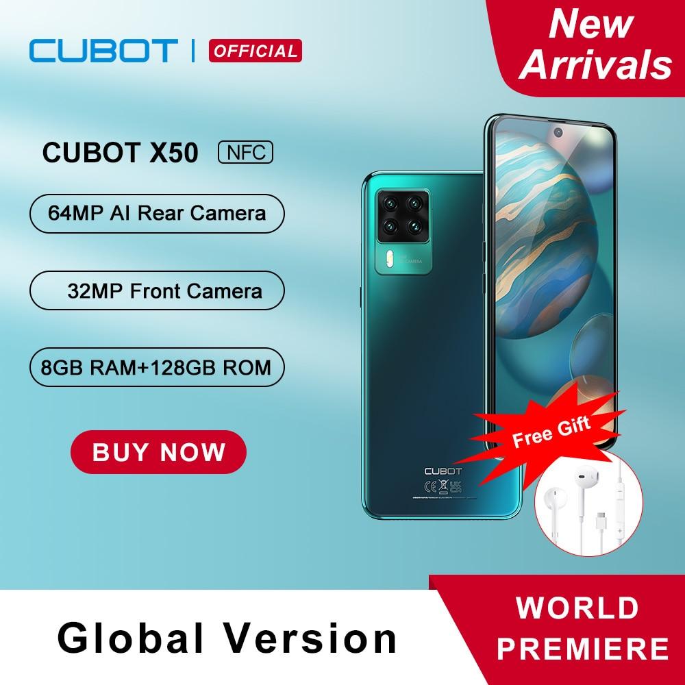 Cubot X50 8GB Smartphone NFC 64MP Quad Camera 32MP Selfie 128GB ROM 6.67