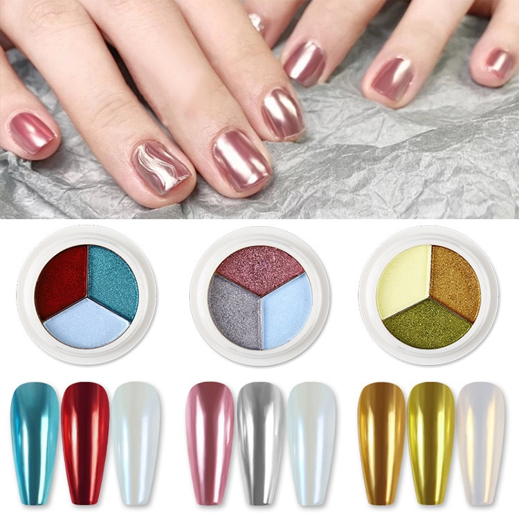 New Updated Three-color Solid Magic Chrome Nail Powder Mettalic Chrome Nail Dust for DIY Nail Art Manicure