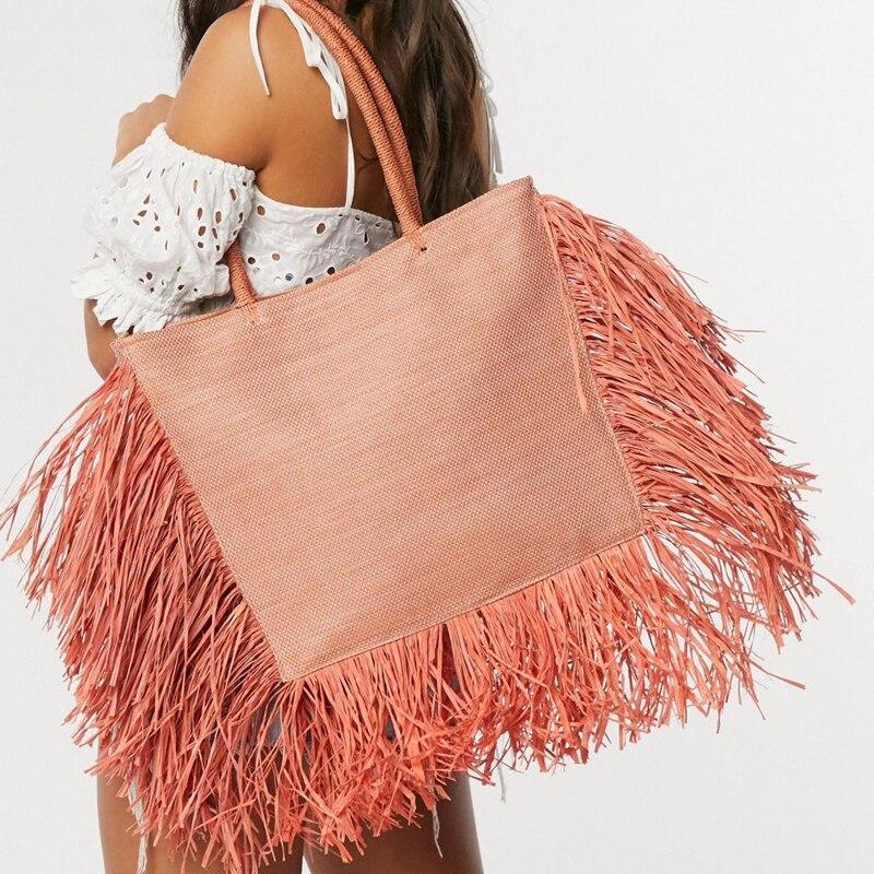 Summer Beach  tote bag Large Capacity Raffia Tassel Bohemian Bags, Women Designer Straw Woven Bags, Luxury Wicker Beach bag