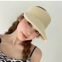 summer empty cap sun hat for women hats outdoor large brim girls beach hat with visors anti uv straw cap adjustable wholesale