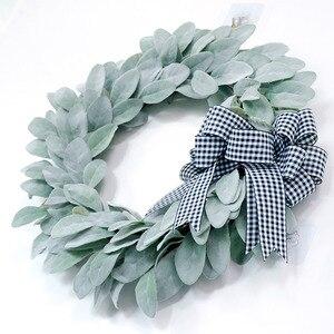Holiday Door Hanging Wreath Greenery Bow Garland Pendant Leaves 1pcs 45cm Flocking Window Wall Decoration
