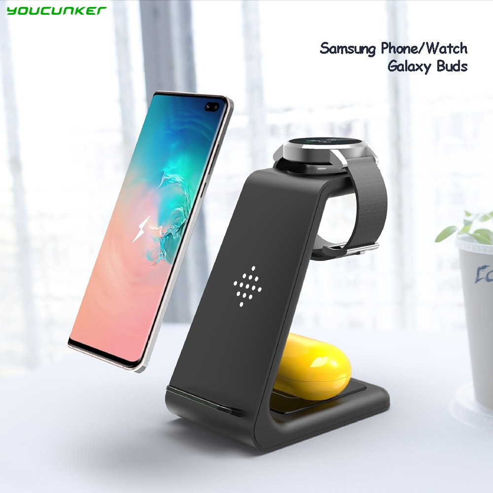 10W QI Wireless Fast Charger Holder Quick Charging Stand Type-C  3 in 1 Station for Samsung Watch Ac