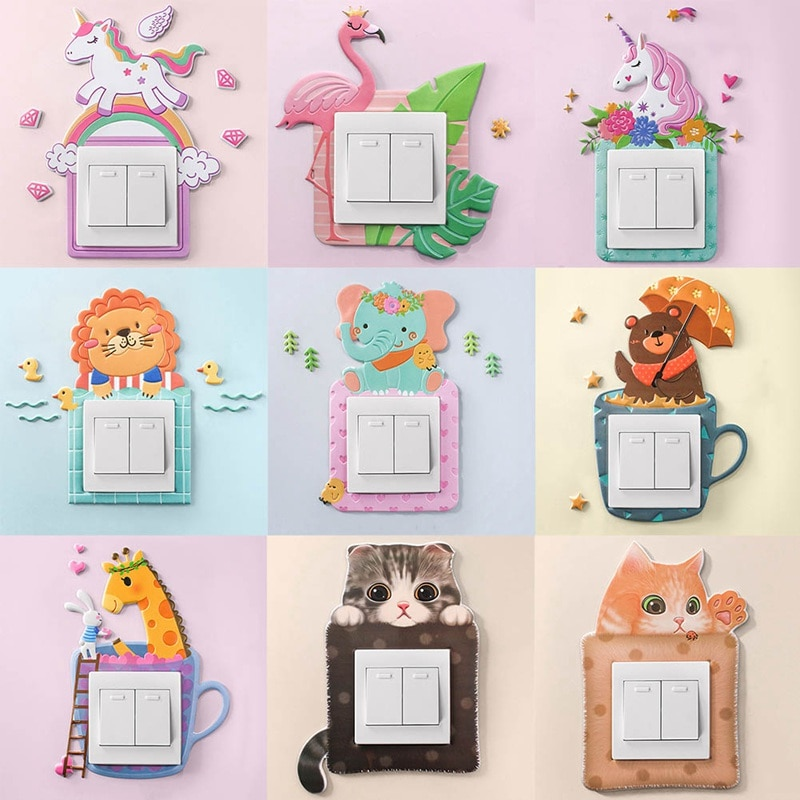 Cartoon Animal Unicorn Flamingo Switch cover Room Decor 3D Silicone On-off Switch Sticker Luminous S