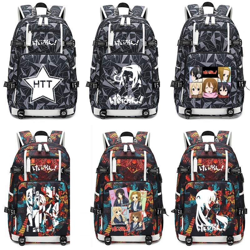 K-ON حقيبة مدرسية هيراساوا يوي Akiyama ميو تأثيري حقيبة لابتوب الرجال حقائب السفر USB أكسفورد على ظهره