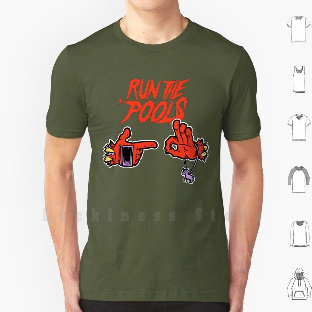 Run the pools pools t camisa tamanho grande 100% algodão morto wade hip hop álbum banda desenhada piscina