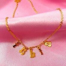 Collar con letra inglés antiguo, collar con letras sueltas, collar con letra inicial, cadena de acero inoxidable dorado, bisutería para mujer
