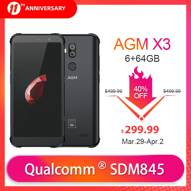 OFFICIAL AGM X3 JBL Cobranding 5.99'' 6G+64G NFC Smartphone 4100mAh IP68 Android 8.1 Mobile phone SDM845 Quick Charge Cellphone