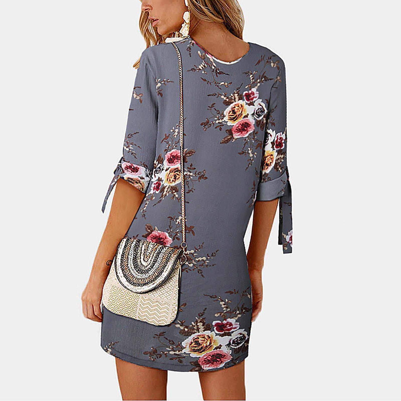 Women's casual fashion chiffon print round neck tie three-quarter sleeve dress vestido de mujer платье 2021 женское платье женское платье dolce