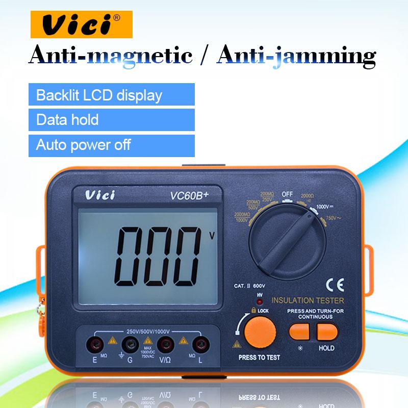 VC60B + جهاز اختبار مقاومة العزل الرقمي Megger تيار مستمر 250 فولت/500 فولت/1000 فولت الجهد العالي و ماس كهربائى إنذار صفارة إنذار وظيفة