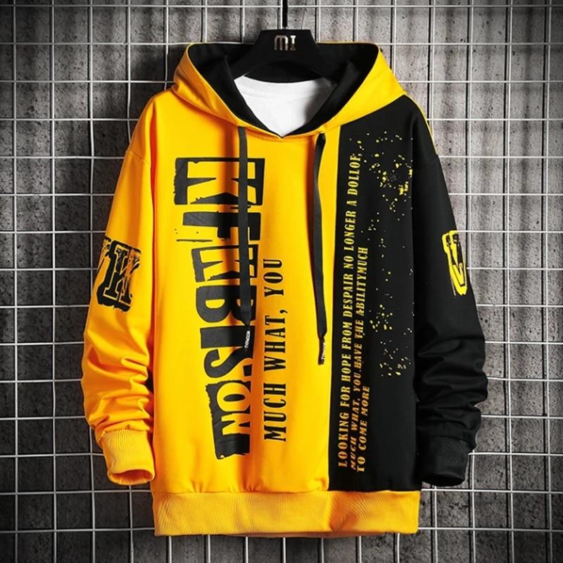 Autumn Men's Sweatshirt Casual Hip Hop Streetwear Loose Hoodies New Men Fashion Personality Letter Printed Hoodie Patchwork Tops