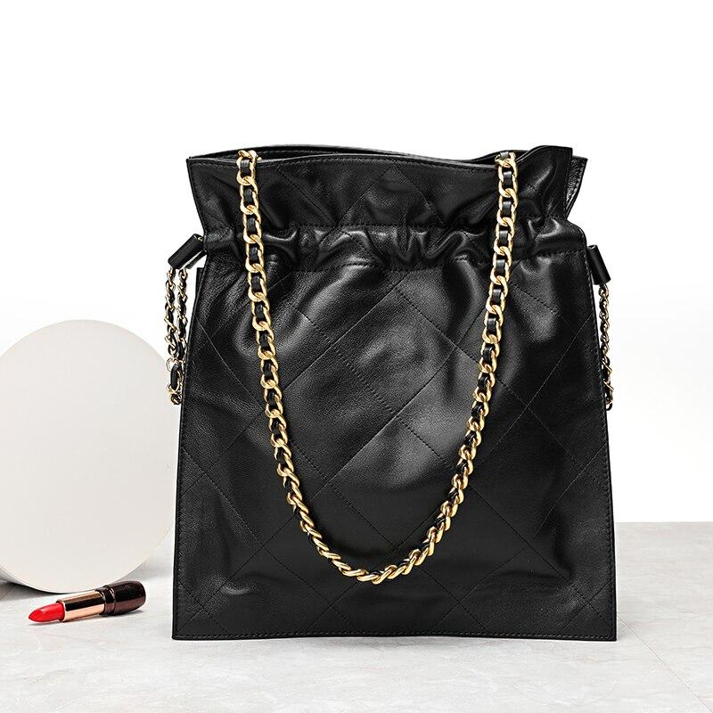YILINSA-حقيبة يد نسائية من جلد الغنم ، حقيبة ذات سعة كبيرة ، حقيبة كتف مصممة بسلسلة قابلة للتعديل