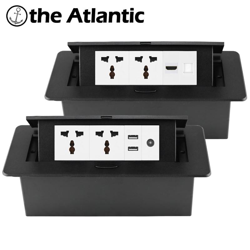 مقبس سطح المكتب العالمي راحة قطاع الطاقة المقبس USB RJ45 TV HDMI سطح المكتب المنبثقة الجدول المخرج أوروبا FR المملكة المتحدة المدمج في المقبس
