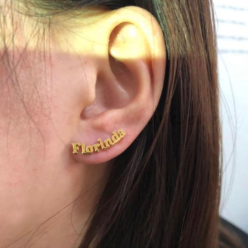 UZone 1 Pair Custom Name Stud Earrings Gold Stainless Steel Personalized Letter Nameplate Piercing Earrings For Women Girls Gift