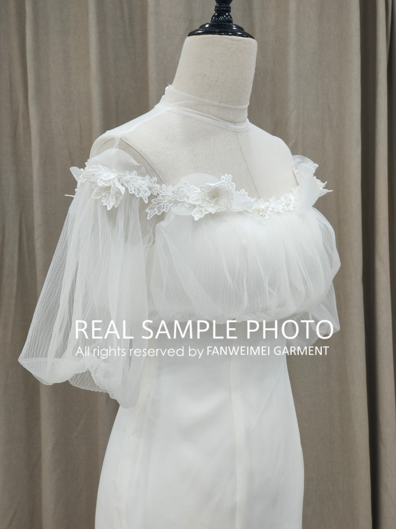 Puff Sleeve Sheath Wedding Bridal Gown Satin Women Chic Empire Illusion Neckline Ankle Length 2021 Spring New Arrival 2995#