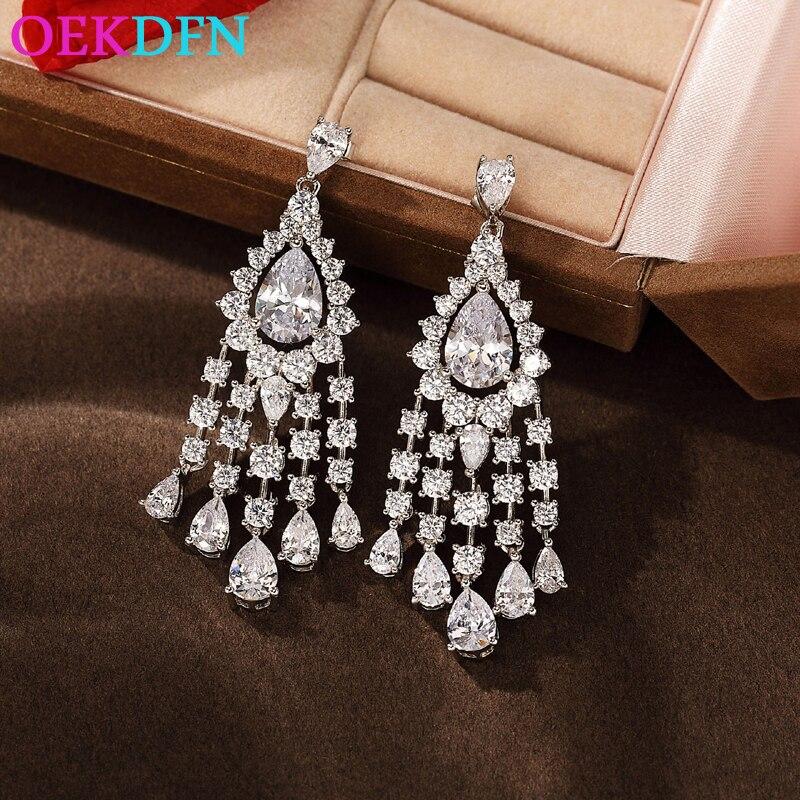 OEKDFN-أقراط من الفضة الإسترليني عيار 100% للنساء ، أقراط متدلية ، أحجار كريمة مويسانيتي غير منتظمة ، خطوبة ، مجوهرات راقية ، 925