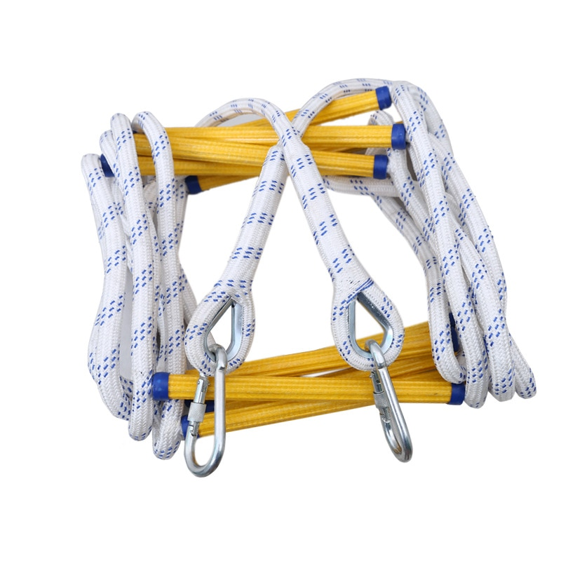 5M/10M Fire Escape Ladder Emergency Fire Ladder Soft Safety Ladder With Carabiners Home Anti-skid Rescue Climbing Rope Ladder