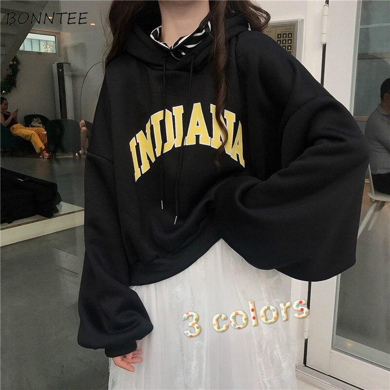 Moletons femininos de veludo com capuz, estilo curto, plus, solto, para estudantes, casual, moda simples