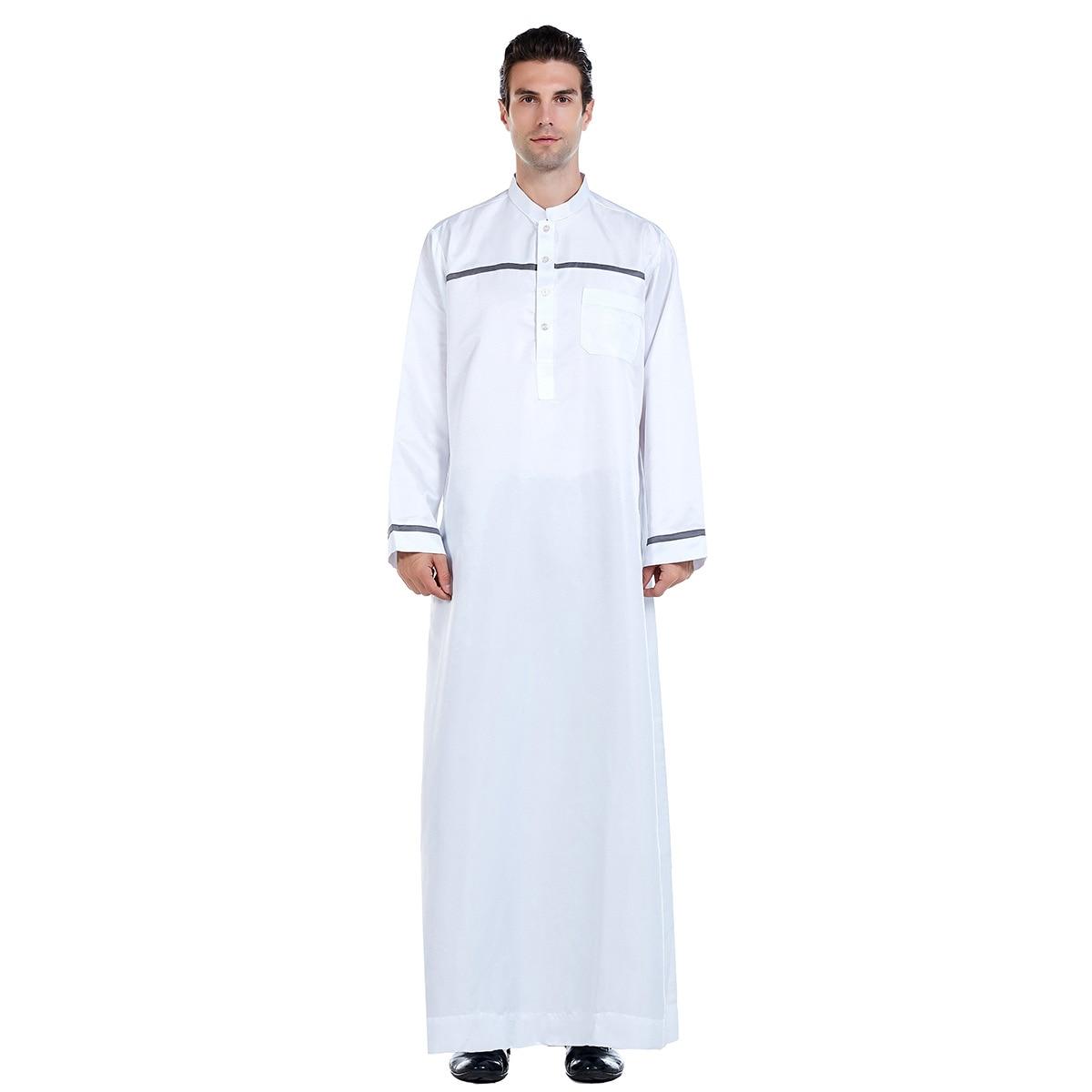 Muslim Men Arab Islamic Kaftan Patchwork Stand Collar Abaya Long Sleeve Fashion Saudi Arabia Men Jubba Thobe Plus Size