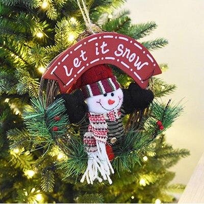 Guirnalda de Navidad de 20cm para puerta delantera guirnalda colgante con adornos de muñeco de nieve de Santa Claus guirnalda de ratán Natural percha de puerta de vacaciones-