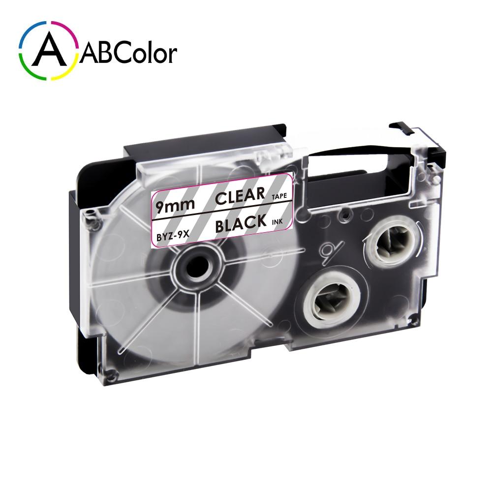 Etiqueta de XR-9X de 9mm para CASIO XR-9X cinta de etiquetas cartucho de etiquetas negro en transparente cinta de impresora para CASIO KL-60 KL-60SR fabricante de etiquetas