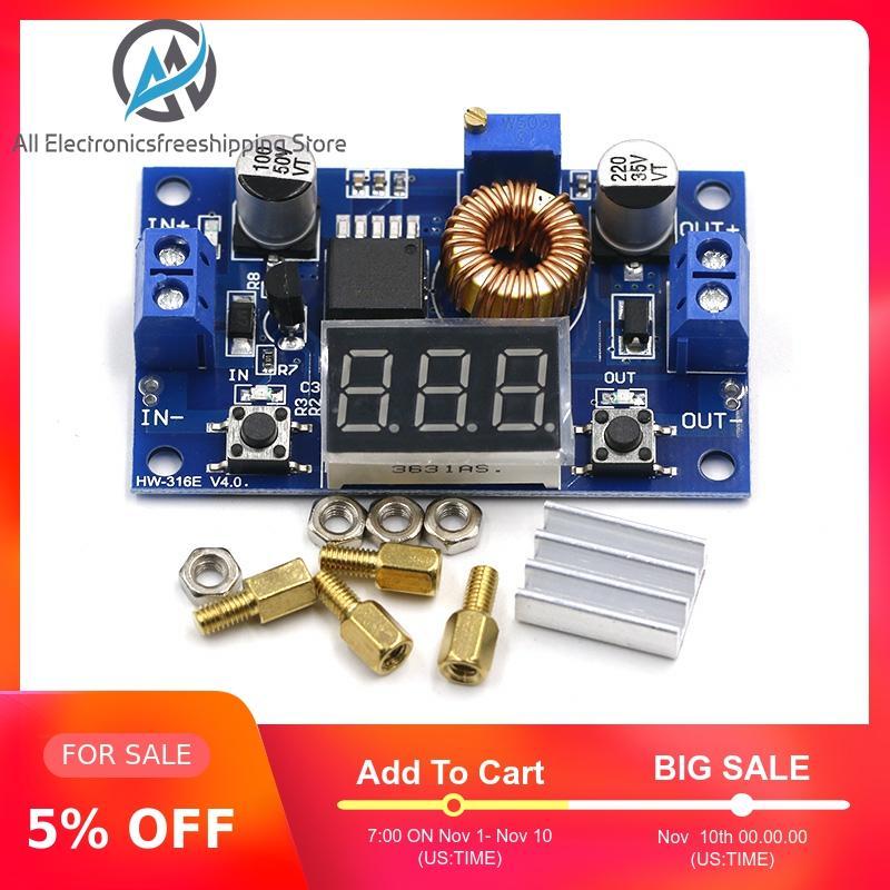 XL4015 alta potencia 5A 75W DC-DC módulo de carga ajustable reductor convertidor Buck de reducción Controlador LED con voltímetro rojo