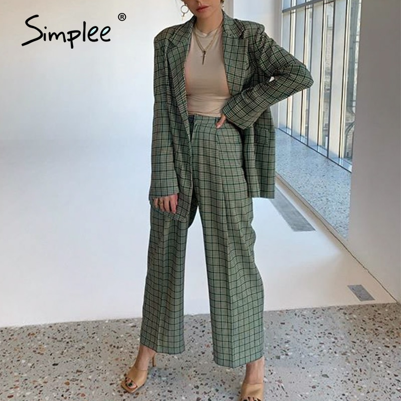 Simplee Elegant plaid two-pieces women blazer suit Casual streetwear suits female blazer set Chic of
