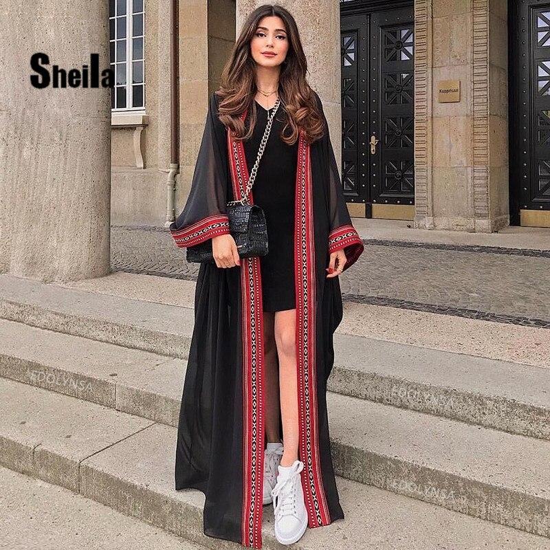 Sheila 2020 sexy ver através bordado longo quimono cardigan branco chiffon túnica plus tamanho beachwear feminino topos e blusas #0