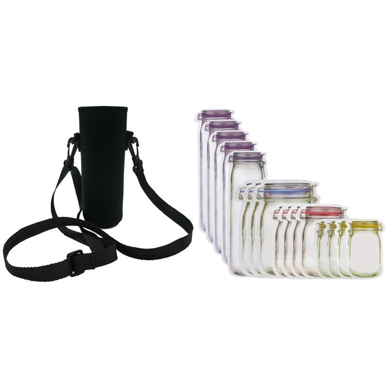 6 упаковок 18 унций Неопреновая стеклянная бутылка для воды охладитель рукав с 70 шт Mason Jar сумки закуска сэндвич сумки многоразовые сумки