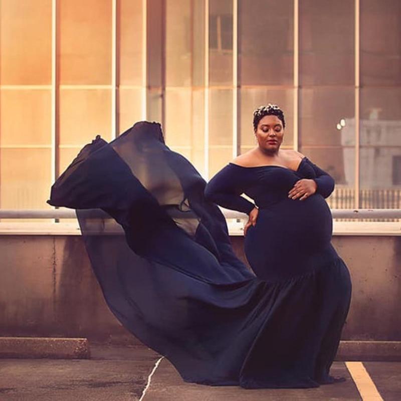 Women Off Shoulder Maternity Dress Slim Cross-Front V Neck Long Sleeve Gown for Photo Shoot Elegant Pregnancy Dress Photography enlarge