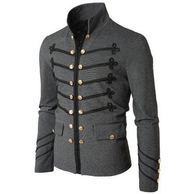 2020 Vintage para hombre gótico Steampunk militar desfile chaqueta ajustada túnica Rock negro ejército abrigo manga larga hombres chaquetas de talla grande
