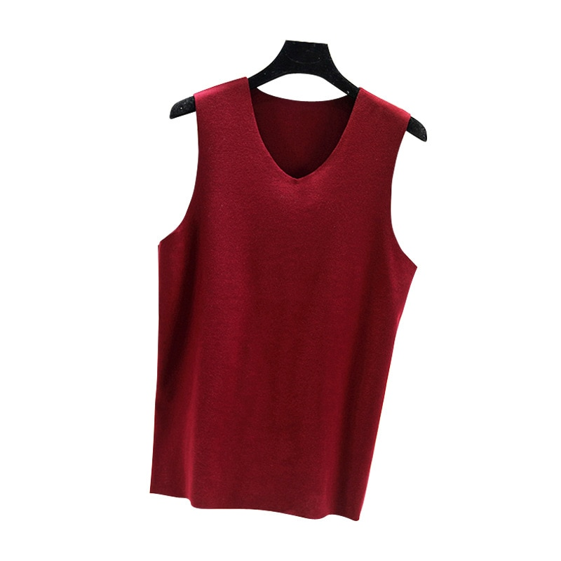 Camiseta Sin Mangas cálida de algodón con cuello en V de otoño...