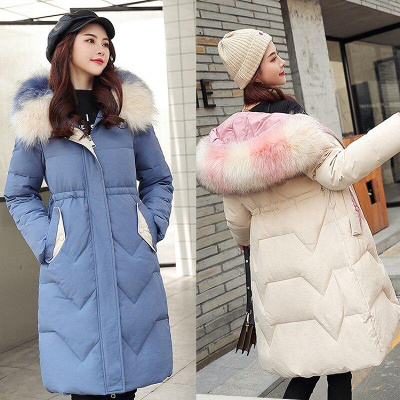 2019 New Winter Jacket Women Coat Long Hooded Thick Warm Cotton Padded Jacket Winter Fur Parka Causal Overcoat Women Basic Coats