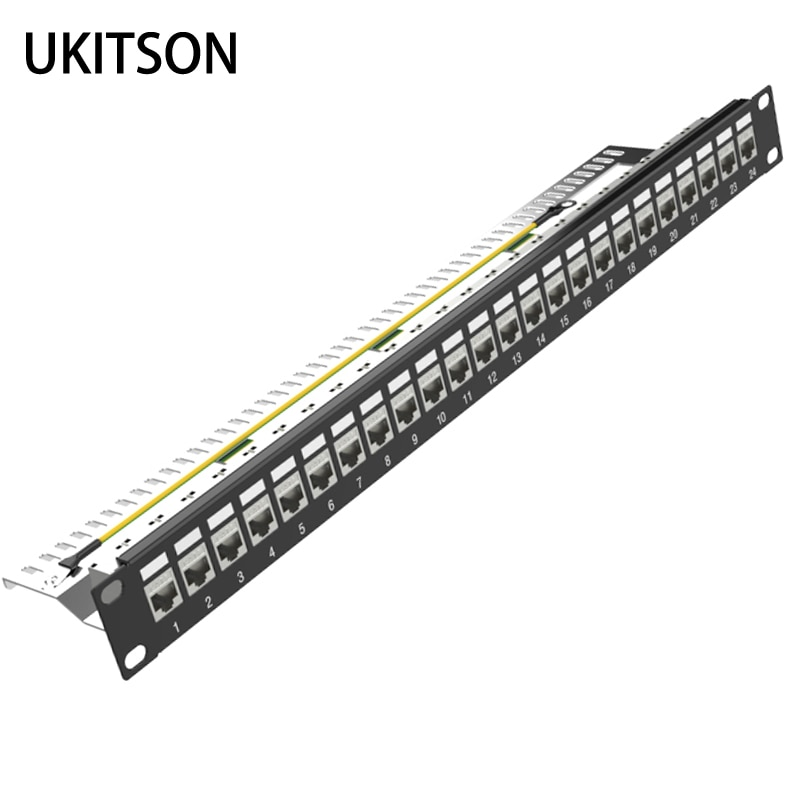 24 Ports 1U Patch Panel FTP LAN With CAT7 CAT6A CAT6 RJ45 Shielded Keystone Jack 19