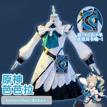 NEW Anime Genshin Impact Barbara Cosplay Costume Uniform Outfit Women Party Princess Dress Game Hall