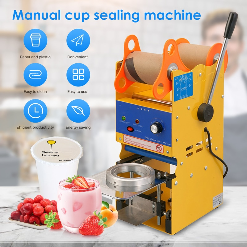 AUPORO Manual Milk Tea Sealing Machine Shop Equipment Hand Pressure Soy Drink Cup Commercial