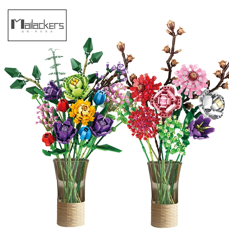 Mailackers креативный эксперт Сделай Сам 10280 Цветы Букет фаленопсис Роза друзья МОК горшечные растения строительные блоки игрушки для девочек